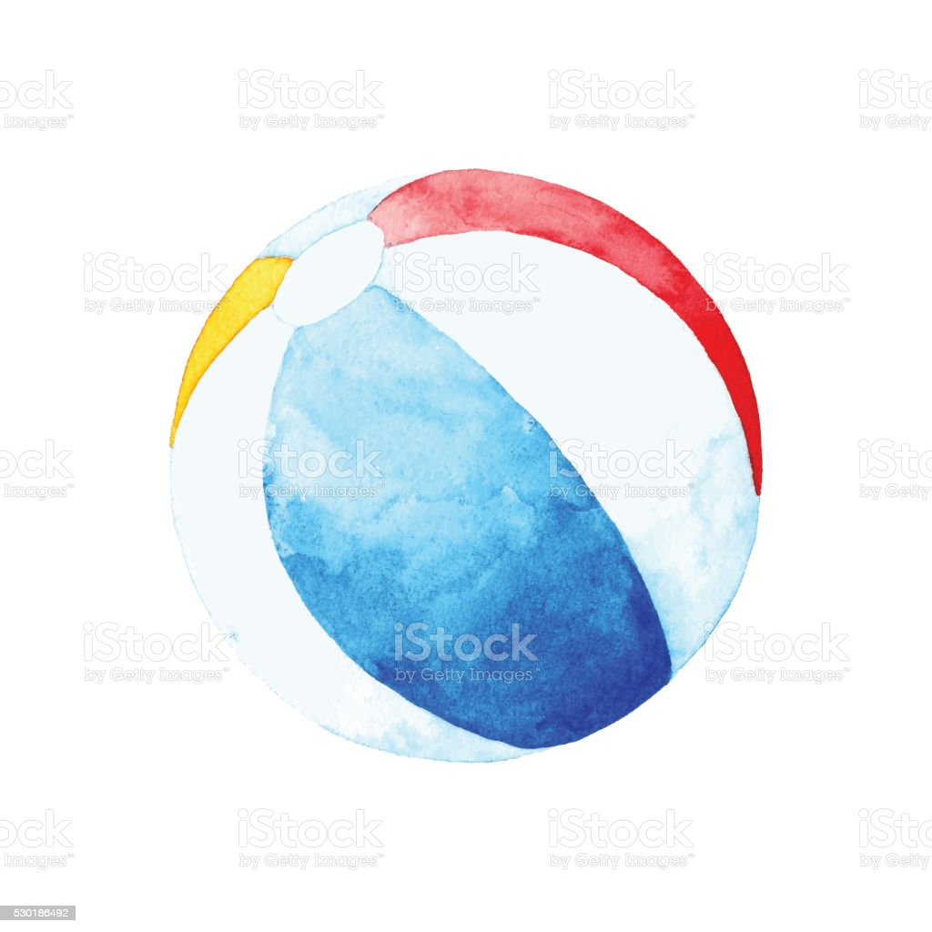 Aquarelle ballon de plage - Illustration vectorielle