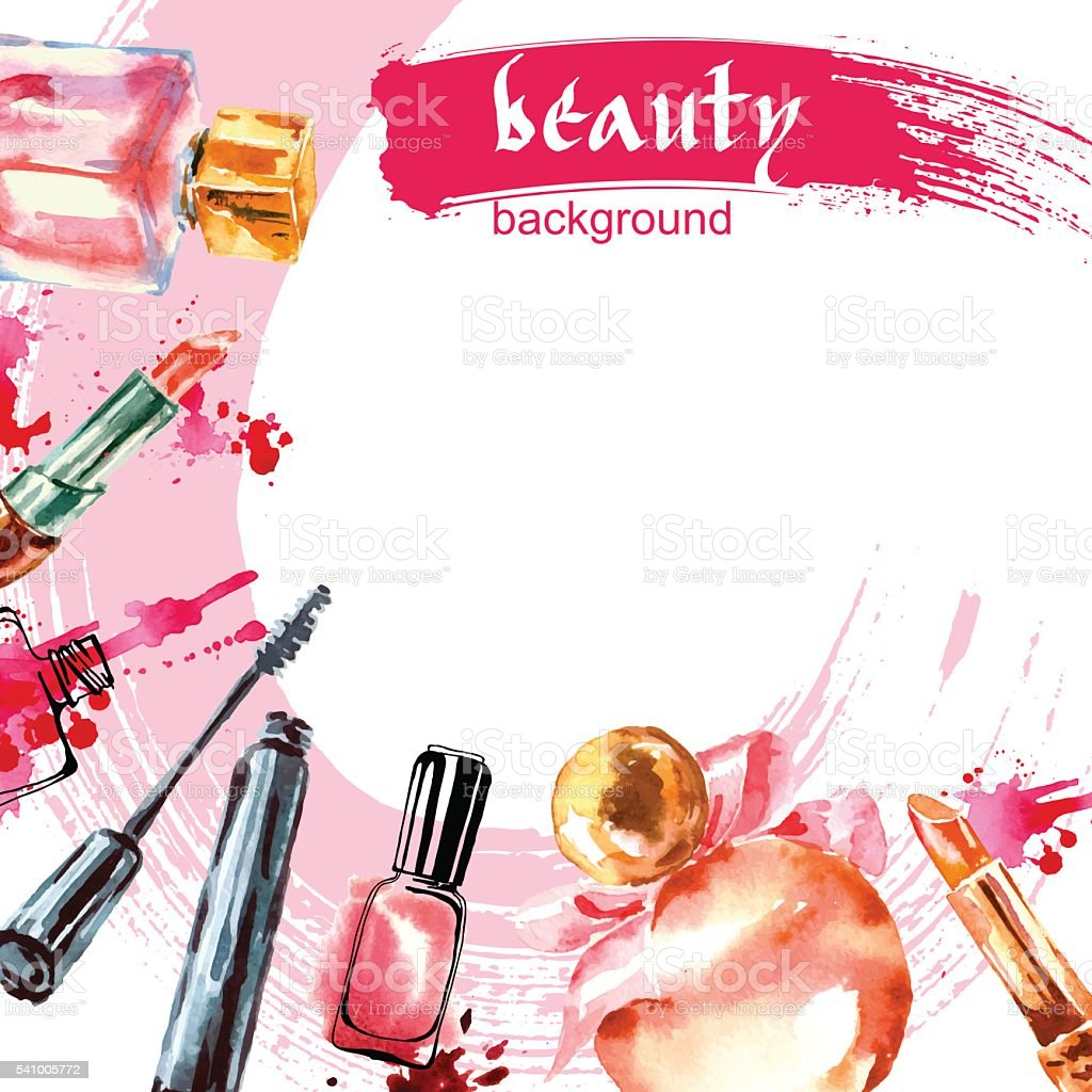 watercolor beauty and cosmetics background stock vector
