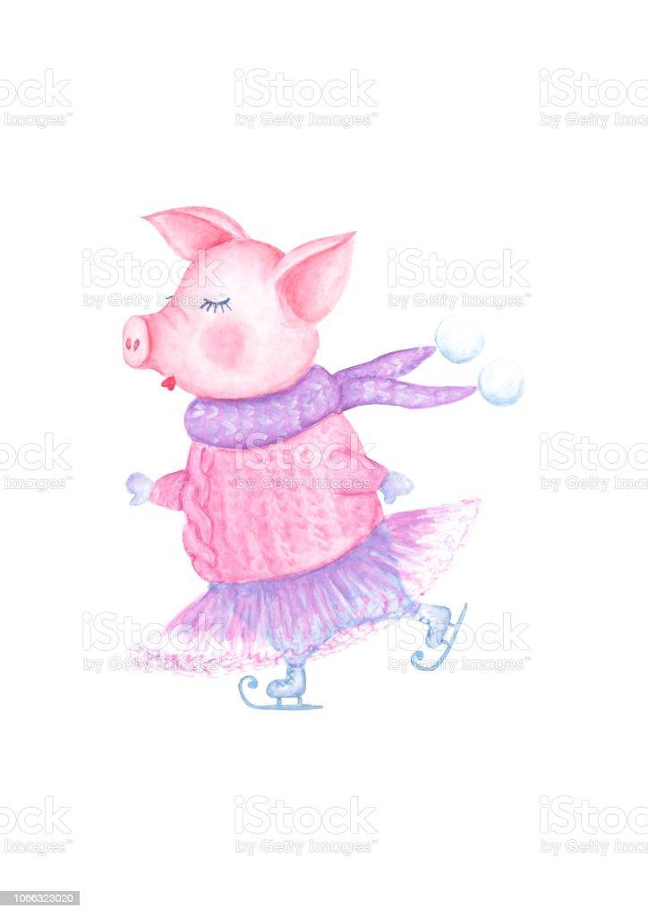 Ilustración de Cerdo Patinaje Belleza Acuarela En Punto Jersey Tutu ...