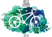 White silhouette of bicycle with succulent design and watercolor texture on background. Vector card isolated on white background