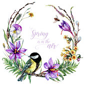 Watercolor Floral Wreath with Blooming Spring Flowers: Saffron, Primrose, Daisy, Fern, Twigs with Sitting Titmouse Bird. Botanical Illustration in Vintage Style Isolated on White. Easter Decoration.