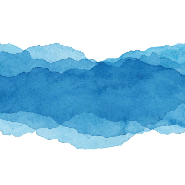 watercolor blue abstract background - blue stock illustrations