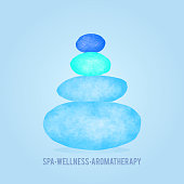 Watercolor Blue and Turquoise Colored Balanced Stones. Beauty Center, SPA and Wellness Concept. Design element, template.