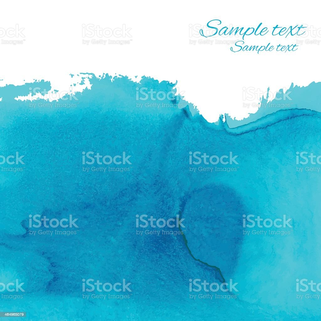 Watercolor blue background with space for text vector art illustration