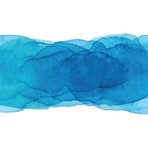 illustrations, cliparts, dessins animés et icônes de fond de bannière bleu aquarelle - aquarelle sur papier