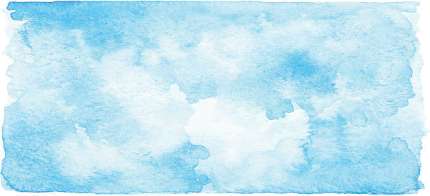 watercolor blue banner - skies stock illustrations, clip art, cartoons, & icons