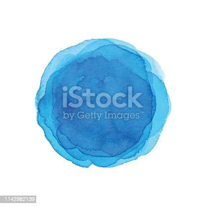 istock Watercolor Blue Circle background 1142982139