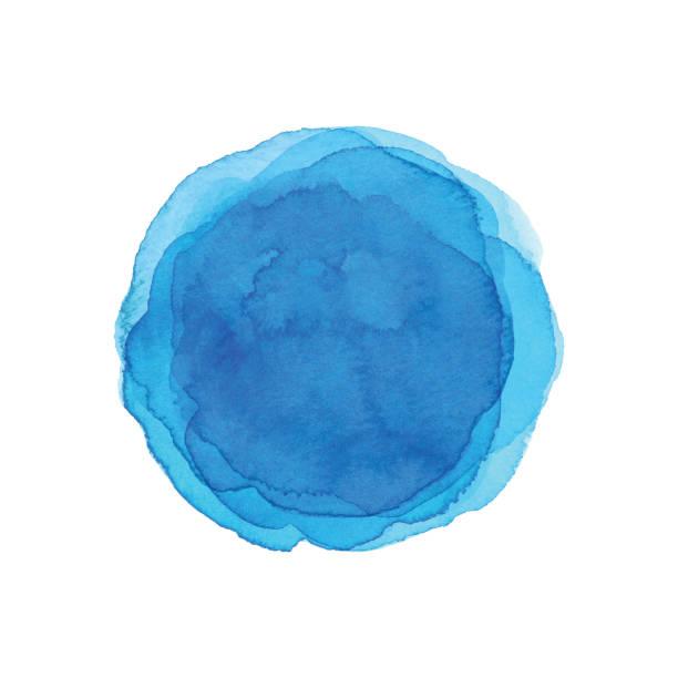 illustrations, cliparts, dessins animés et icônes de fond bleu d'aquarelle de cercle - aquarelle sur papier