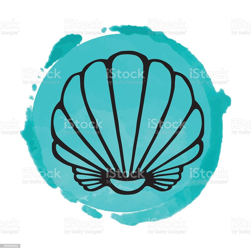 Watercolor blue circle paint stain and sea shell vector art illustration