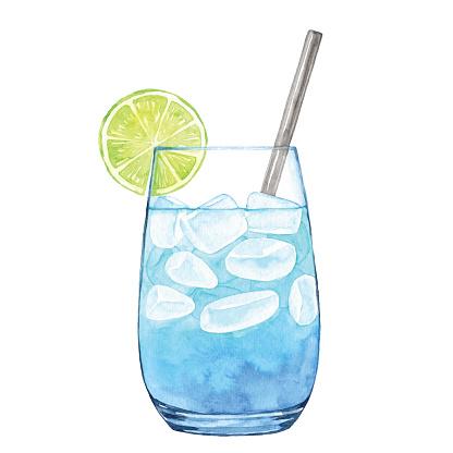 Watercolor Blue Cocktail