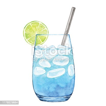 istock Watercolor Blue Cocktail 1178529884