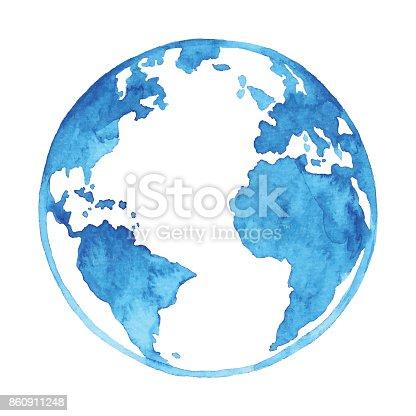 istock Watercolor Blue Earth 860911248