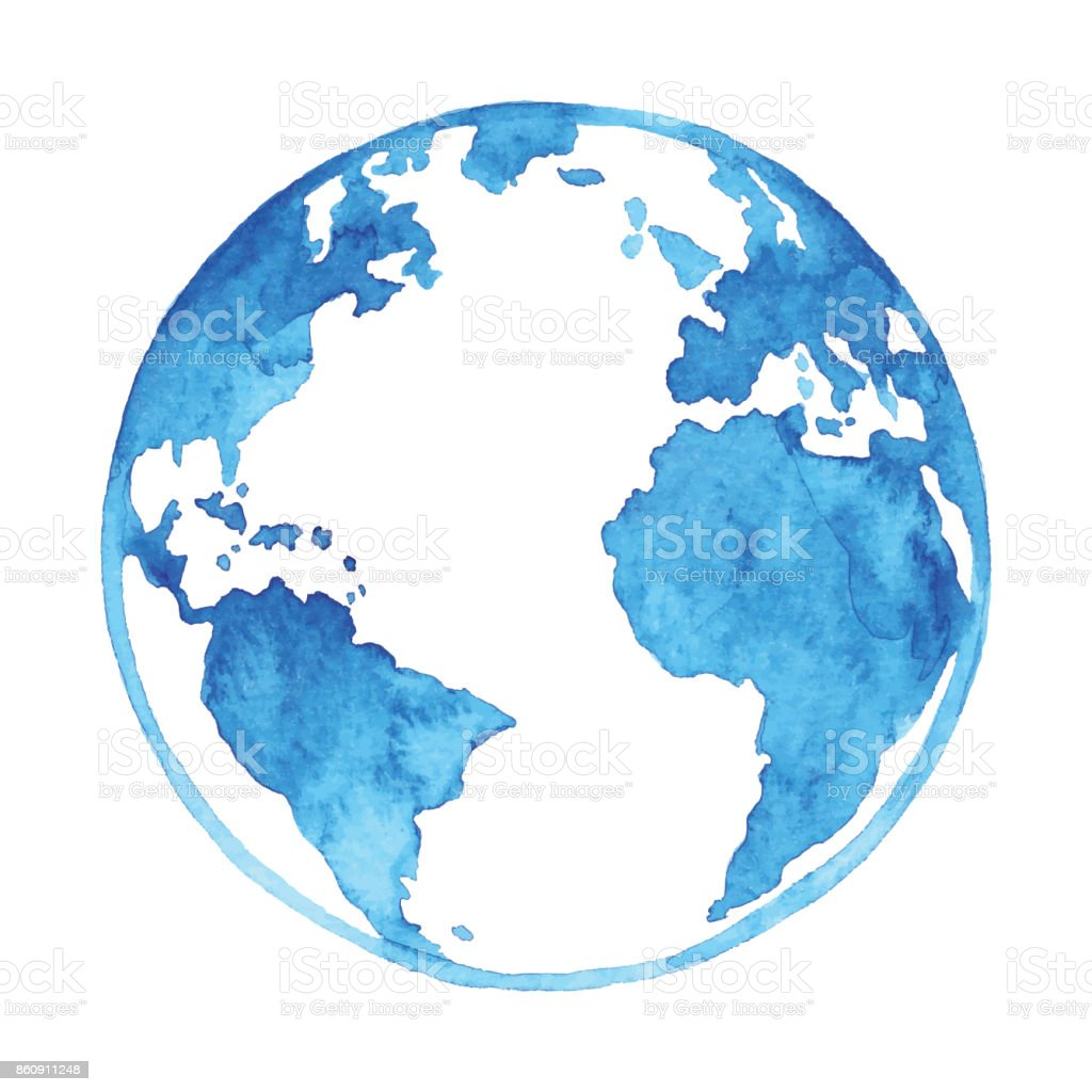 Watercolor Blue Earth vector art illustration