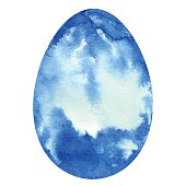Watercolor blue Easter egg closeup with splash