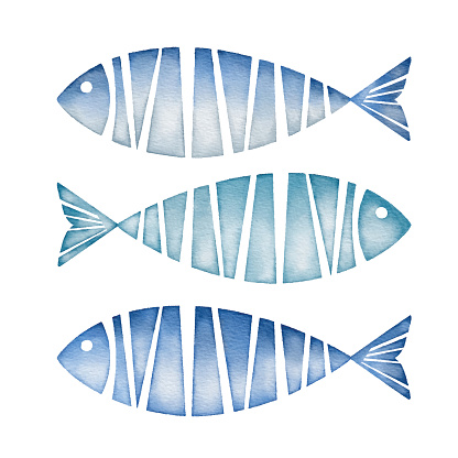 Watercolor Blue Fishes