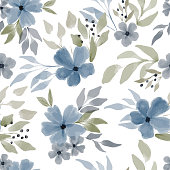 istock watercolor blue floral seamless pattern 1291313991