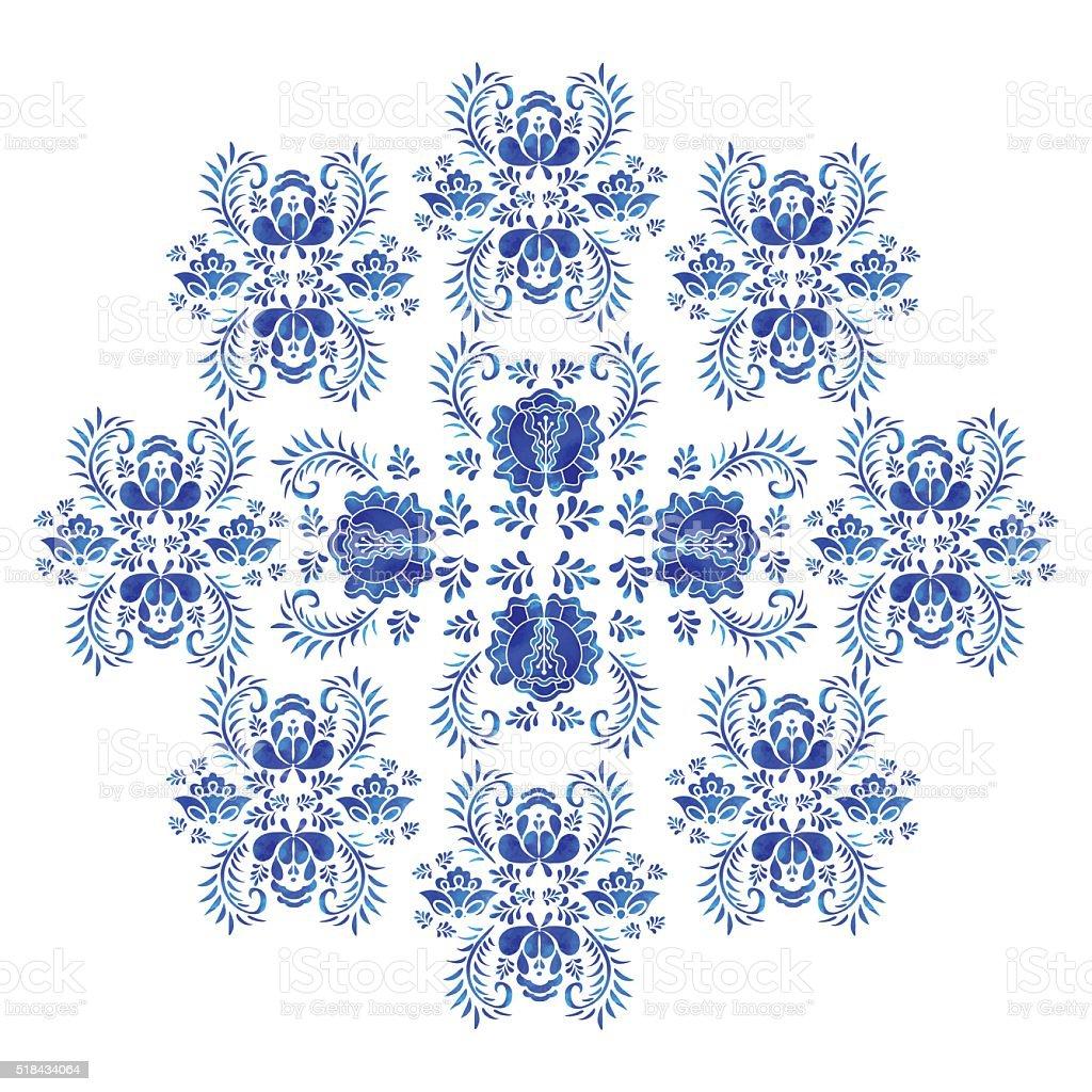 Watercolor blue flowers, leafs vector art illustration