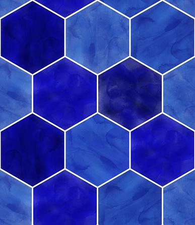 Watercolor Blue Hexagon Seamless Pattern. Abstract Background, Design Element.Vector Tile Honeycomb Pattern, Lisbon Arabic Geometric Hexagon Mosaic, Mediterranean Seamless Navy Blue Ornament.