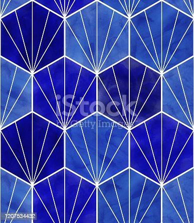 istock Watercolor Blue Hexagon Seamless Pattern. Abstract Background, Design Element.Vector Tile Honeycomb Pattern, Lisbon Arabic Geometric Hexagon Mosaic, Mediterranean Seamless Navy Blue Ornament. 1207534432
