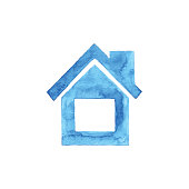 istock Watercolor Blue House Icon 1132925703