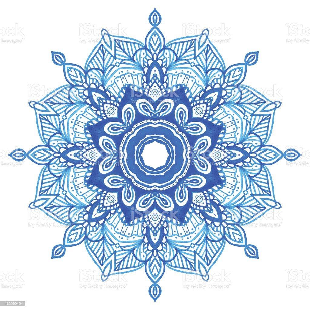 Watercolor Blue Mandala Stock Vector Art Amp More Images Of