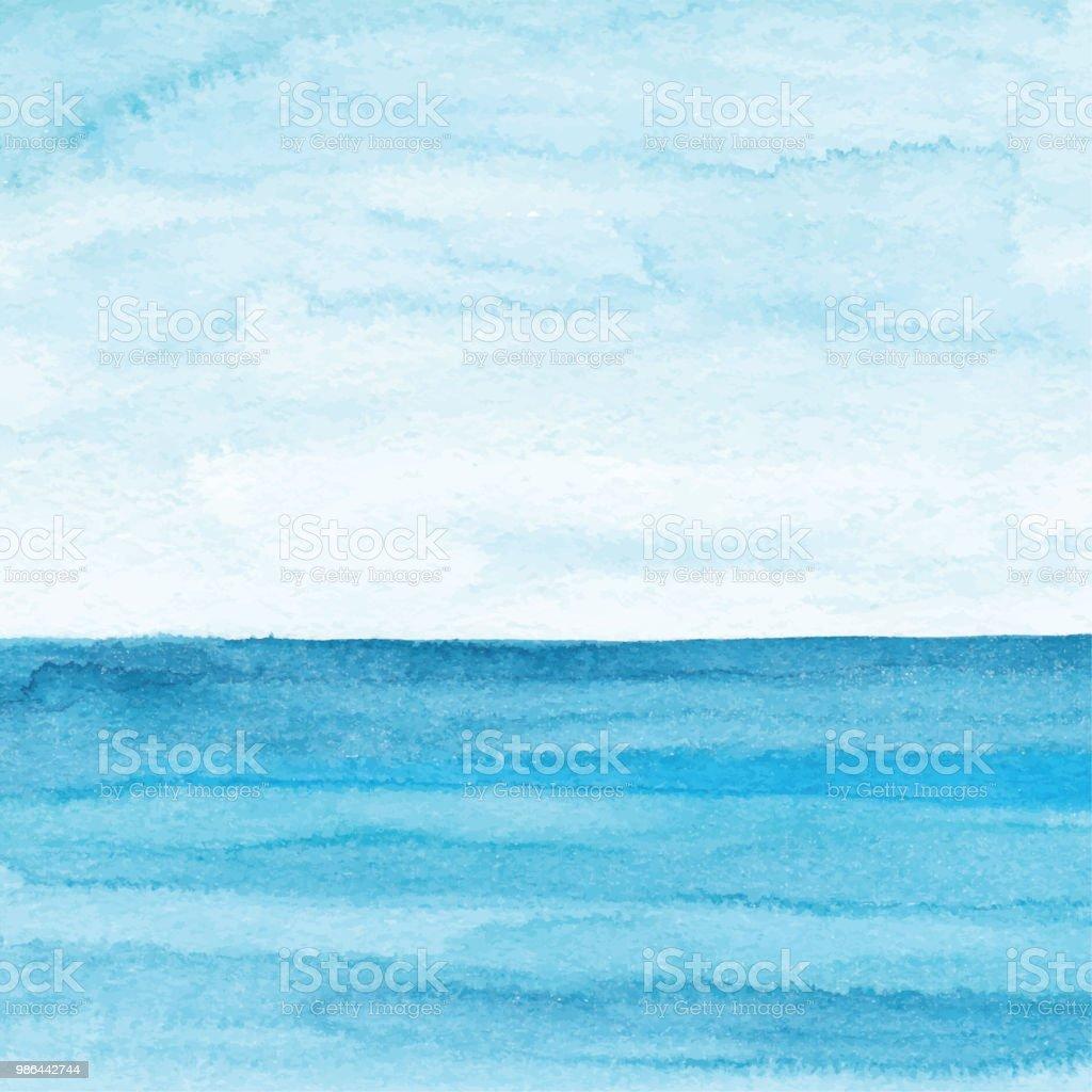 Watercolor Blue Ocean Background - Векторная графика Абстрактный роялти-фри