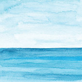 Vector illustration of watercolor ocean.