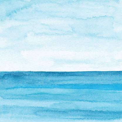 Watercolor Blue Ocean Background — стоковая векторная графика и другие изображения на тему Абстрактный