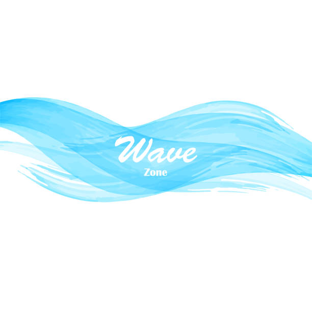 watercolor blue osean sea wave - river paper stock illustrations, clip art, cartoons, & icons