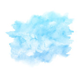 Watercolor blue paint texture isolated on white background. Abstract vector backdrop.