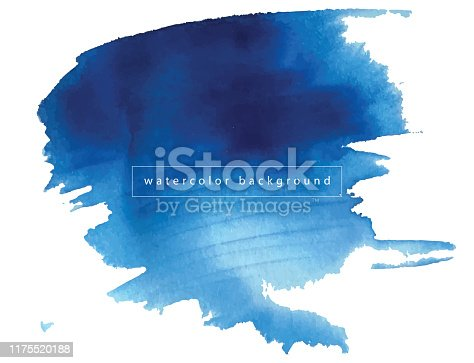 istock Watercolor blue paint texture isolated on white background 1175520188
