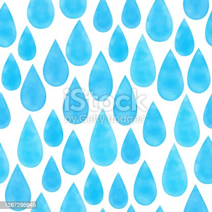 istock Watercolor blue raindrops seamless pattern. Hand drawn vector blue raindrops background template for cards, invitations, posters, business cards and flyers. 1267295945