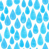 Watercolor blue raindrops seamless pattern. Hand drawn vector blue raindrops background template for cards, invitations, posters, business cards and flyers.