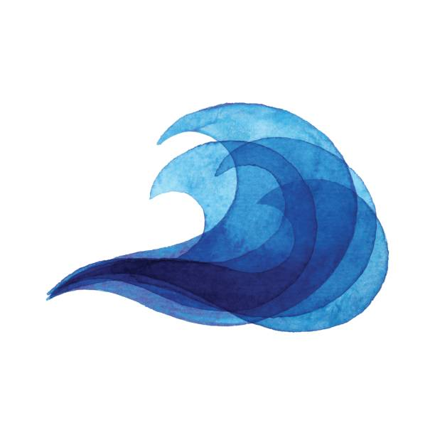 watercolor blue wave - tidal wave stock illustrations, clip art, cartoons, & icons