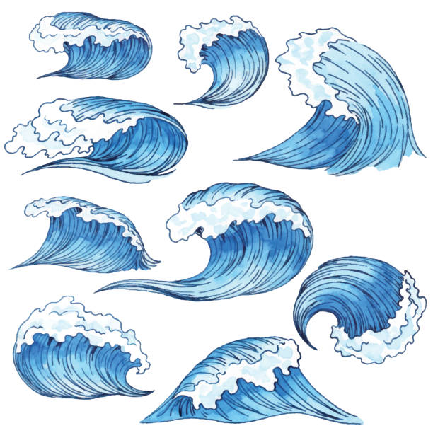 Watercolor Blue Waves Vector illustration of watercolor drawing. tsunami stock illustrations