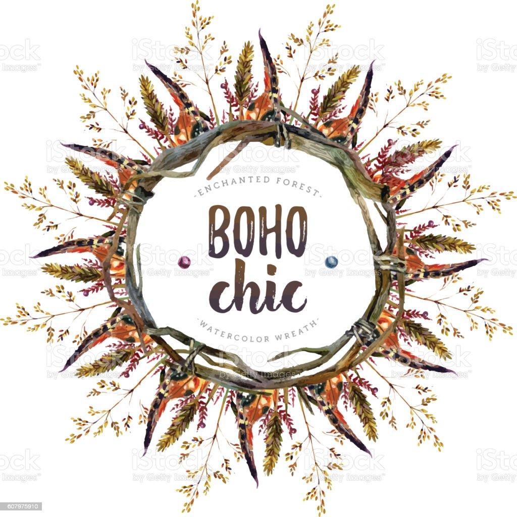 Watercolor Boho Chic Design Elements Royalty Free Stock Vector Art