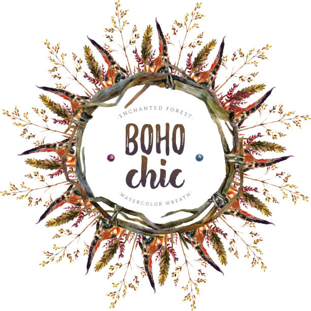 watercolor boho chic design elements - hippie fashion stock illustrations, clip art, cartoons, & icons