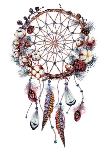 Watercolor Boho Dream Catcher Illustration vector art illustration
