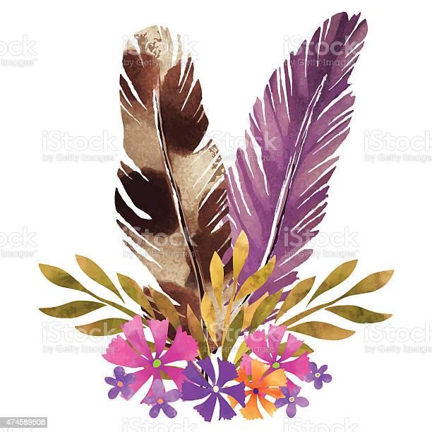 Watercolor boho posy feathers flowers leafs vector id474589508?b=1&k=6&m=474589508&s=612x612&h=g63xu2yf24xd4fc5ocfxchutmfh3u0rl16byoa5qxui=