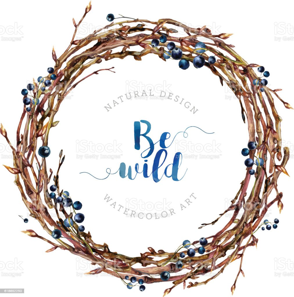 Watercolor Boho wreath made of twigs and berries. - ilustración de arte vectorial