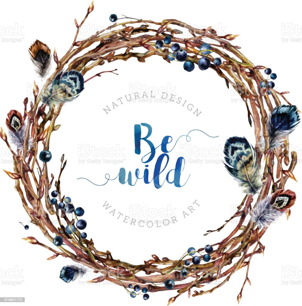 Watercolor Boho wreath made of twigs and feathers. - ilustración de arte vectorial