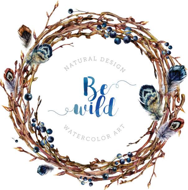 Watercolor Boho wreath made of twigs and feathers. - ilustración de arte vectorial