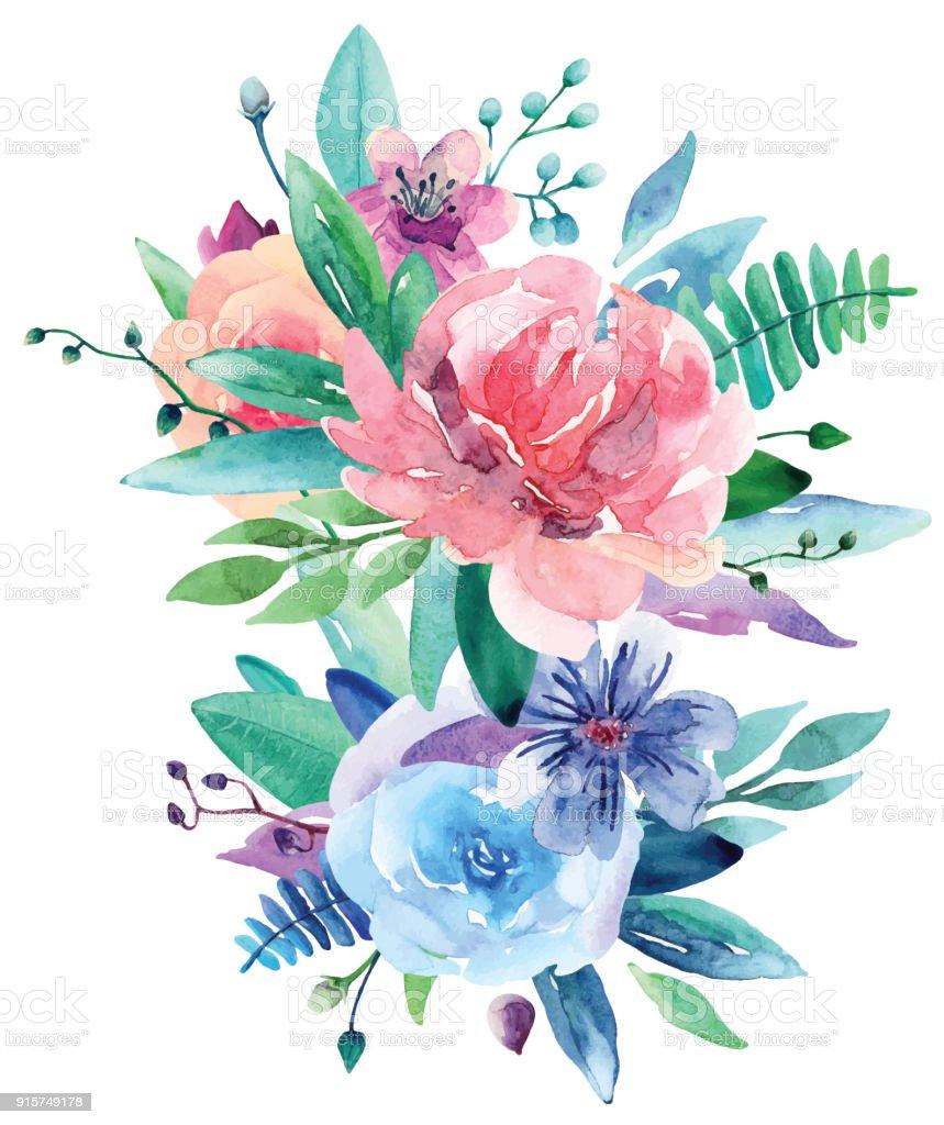 Watercolor bouquet vector clip art royalty-free watercolor bouquet vector clip art stock illustration - download image now