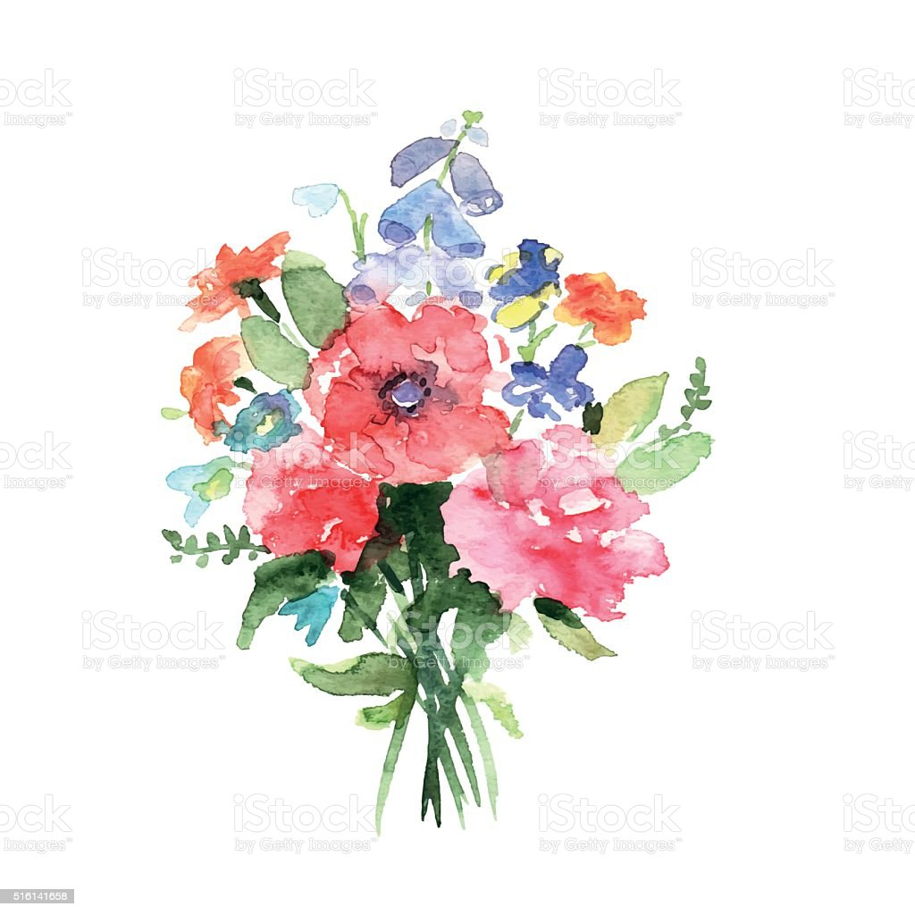 Watercolor bouquet vector art illustration