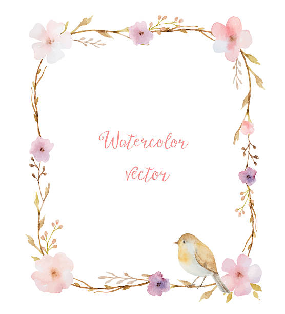 Watercolor bouquets in the shape of a rectangle. Watercolor bouquets in the shape of a rectangle of flowers and leaves. Summer flowers with space for your text. bird borders stock illustrations