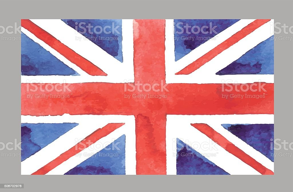 Watercolor British Flag. Vector EPS 10Œ