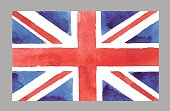 Watercolor British Flag. Vector EPS 10Œ