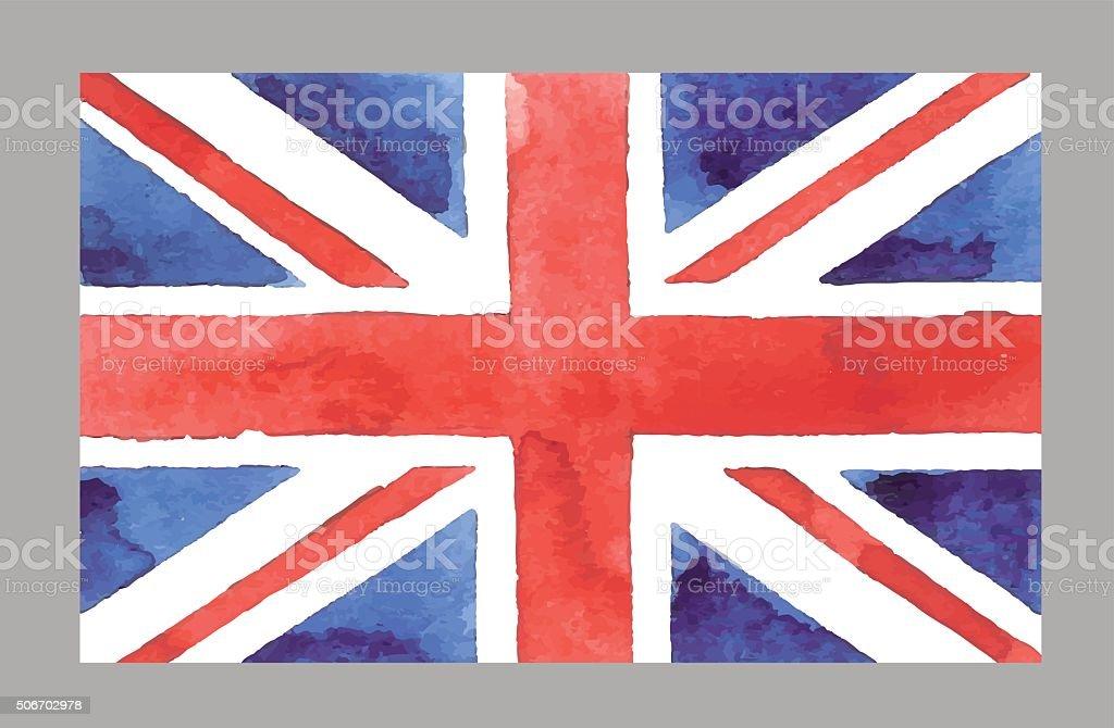 Aquarela bandeira britânica. Vetor EPS 10 Œ - ilustração de arte em vetor