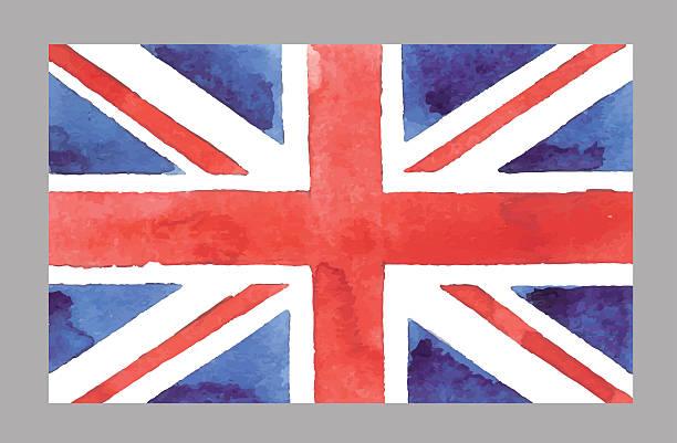 watercolor british flag. vector eps 10Π- uk flag stock illustrations, clip art, cartoons, & icons