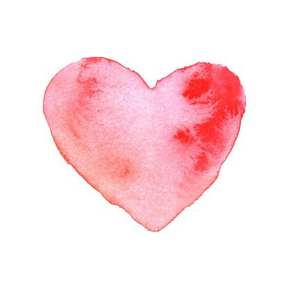 Watercolor Brush Painted Red Heart Vector Heart Shape Hand Drawing Painting - Stockowe grafiki wektorowe i więcej obrazów Abstrakcja